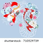 beautiful  colorful koi carp... | Shutterstock .eps vector #710529739