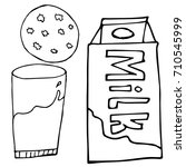 carton of milk  a cookie and a... | Shutterstock .eps vector #710545999