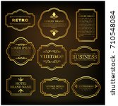 set of 9 vintage poster. golden ... | Shutterstock .eps vector #710548084