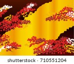 japanese autumn background   Shutterstock .eps vector #710551204