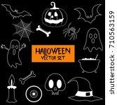 halloween party set vector... | Shutterstock .eps vector #710563159