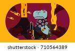 t rex illustration | Shutterstock . vector #710564389