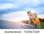 technician engineer checking... | Shutterstock . vector #710567269
