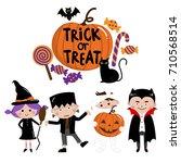 halloween  trick or treat  kids ... | Shutterstock .eps vector #710568514