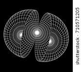wireframe mesh hemisphere shell.... | Shutterstock .eps vector #710571205