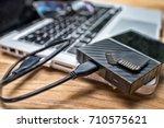 external hard disk and memory...   Shutterstock . vector #710575621