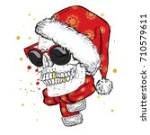 a skull with glasses  a scarf... | Shutterstock .eps vector #710579611