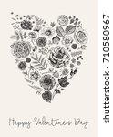 vintage greeting vector card... | Shutterstock .eps vector #710580967