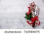 table fork and knife set with...   Shutterstock . vector #710584075