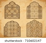 collection of arabic windows... | Shutterstock .eps vector #710602147