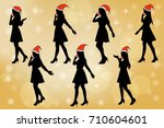 silhouette of woman talk on... | Shutterstock .eps vector #710604601