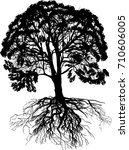 illustration with large tree... | Shutterstock .eps vector #710606005