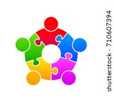 community puzzle union support... | Shutterstock .eps vector #710607394