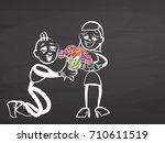 valentines gift. stickman on...   Shutterstock .eps vector #710611519