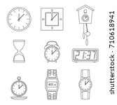 clock and watches line icons... | Shutterstock . vector #710618941