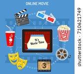 concept online movie  tablet pc ... | Shutterstock .eps vector #710621749