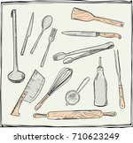 hand drawn set of kitchen... | Shutterstock .eps vector #710623249