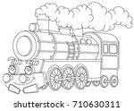 cartoon funny looking steam... | Shutterstock .eps vector #710630311