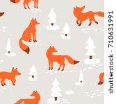 cute animalistic seamless... | Shutterstock .eps vector #710631991