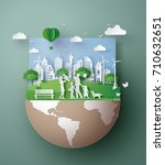 paper art concept of eco... | Shutterstock .eps vector #710632651