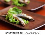 japanese shishamo smelt stuffed with eggs - stock photo