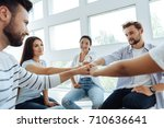 happy young people doing a... | Shutterstock . vector #710636641