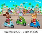 funny pets are riding scooters... | Shutterstock .eps vector #710641135
