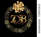 2018 new year gold glossy... | Shutterstock . vector #710651611