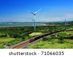 Wind Turbines And A Freight...