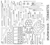 art materials  line drawing set ... | Shutterstock .eps vector #710660731