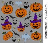 hand drawn halloween set.... | Shutterstock .eps vector #710666374