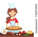 woman cooking a pizza. culinary ... | Shutterstock .eps vector #710674645