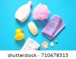 flat lay bath products. shampoo ... | Shutterstock . vector #710678515