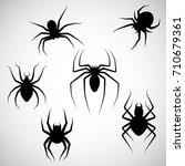 black silhouette. spider set.... | Shutterstock .eps vector #710679361