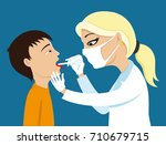 doctor heals throat. | Shutterstock .eps vector #710679715