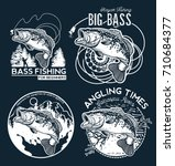 vintage bass fishing emblems... | Shutterstock .eps vector #710684377