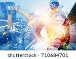 double exposure of... | Shutterstock . vector #710684701
