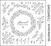 hand drawn vintage floral...   Shutterstock .eps vector #710692345