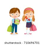 boy and girl with books and... | Shutterstock .eps vector #710696701