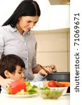mother and children prepare a... | Shutterstock . vector #71069671