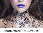 bright masquerade make up blue ...   Shutterstock . vector #710696845