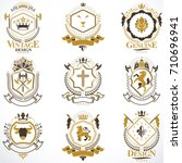heraldic vector signs decorated ... | Shutterstock .eps vector #710696941