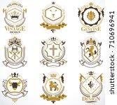heraldic vector signs decorated ...   Shutterstock .eps vector #710696941