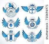 collection of vector heraldic... | Shutterstock .eps vector #710696971