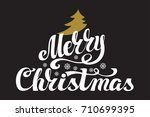 christmas greeting card. merry... | Shutterstock . vector #710699395