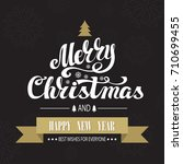 christmas greeting card. merry... | Shutterstock . vector #710699455