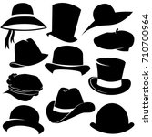 hat icon set isolated on white...   Shutterstock . vector #710700964