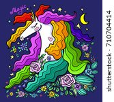 a beautiful unicorn with... | Shutterstock .eps vector #710704414