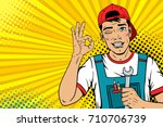 wow male face. young handsome... | Shutterstock .eps vector #710706739