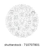 vector graphic set icon in line ... | Shutterstock .eps vector #710707801